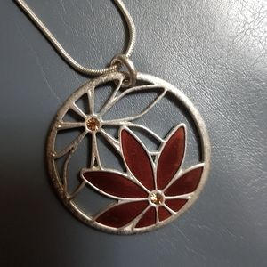 3/$30 Flower pendant and snake chain necklace